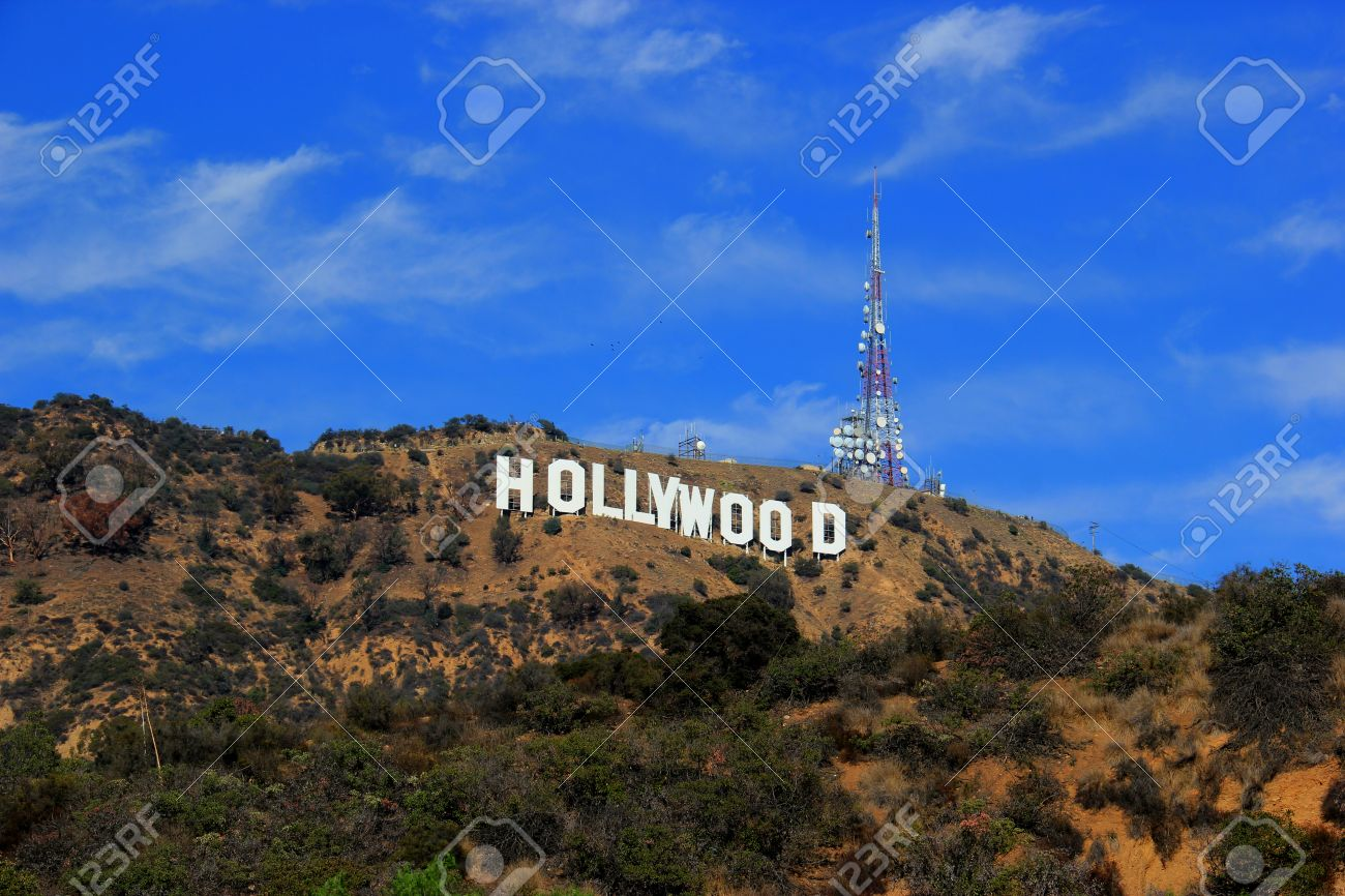 Los Angeles, California, USA - November 10, 2014: The Hollywood Sign, viewed from Lake Hollywood Park, is a landmark and American cultural icon located on Mount Lee in the Hollywood Hills area of the Santa Monica Mountains in Los Angeles, California. - 33434611