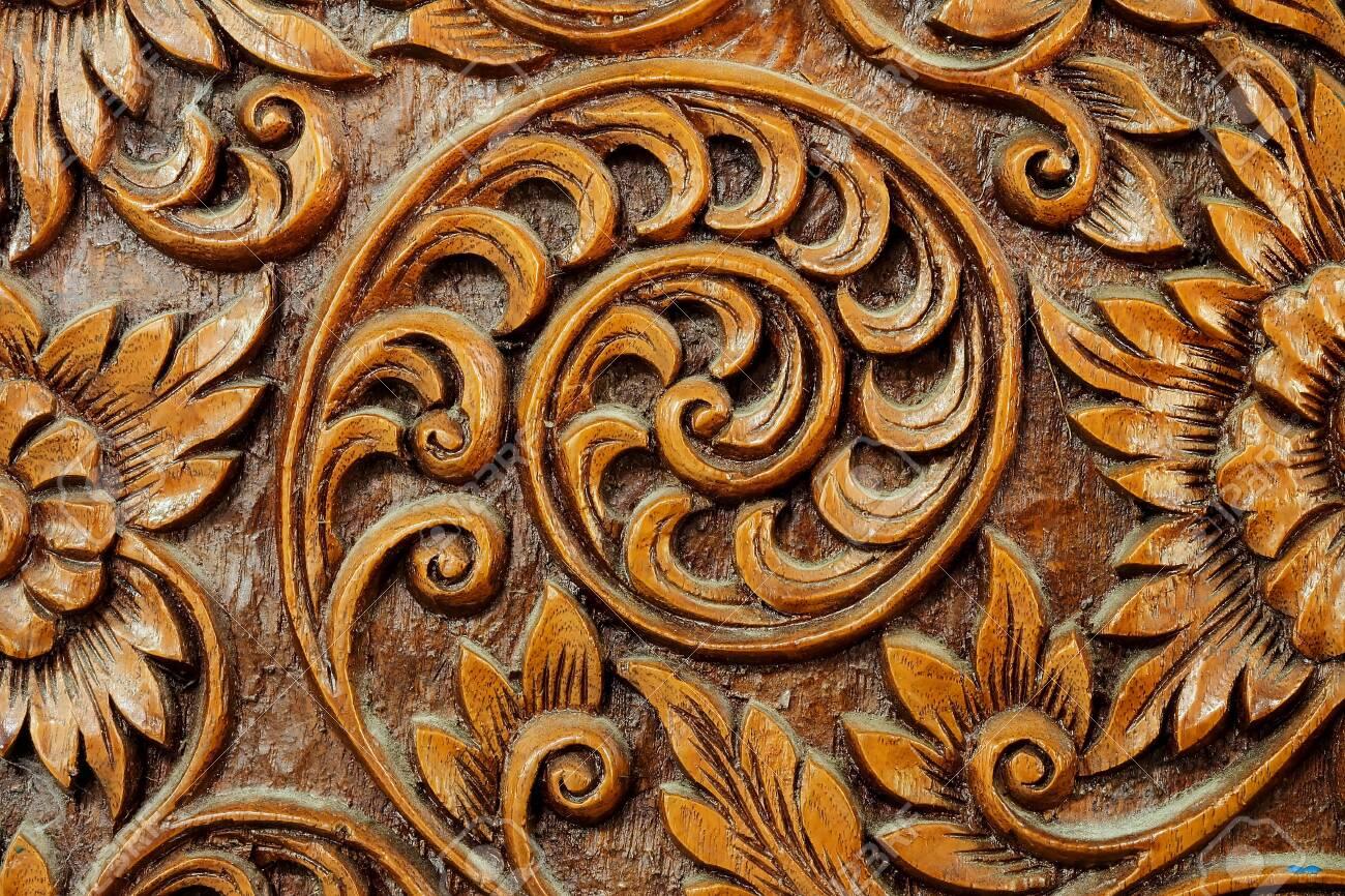 Texture Of Flower Art On Wood Sculpture Unique Special Design