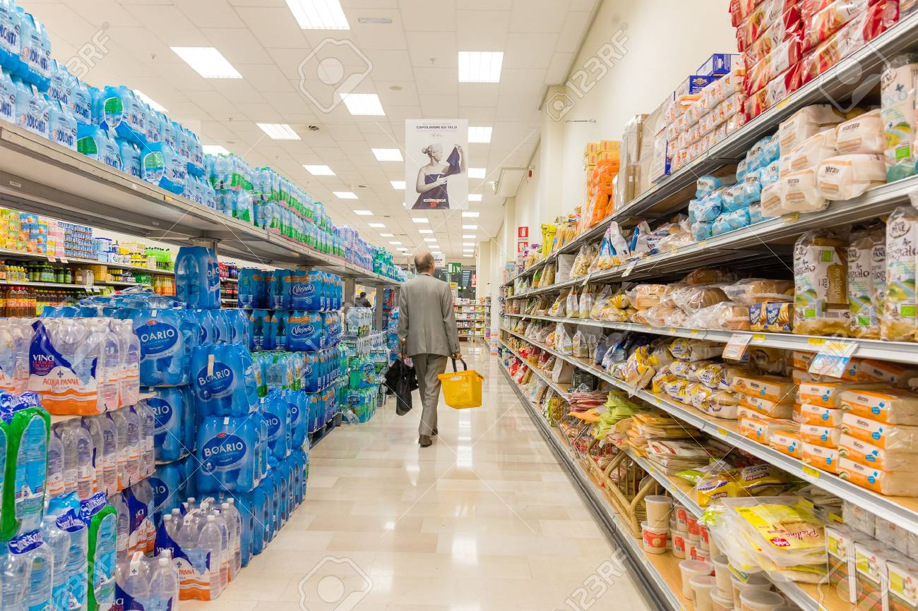 ITALY, MILAN- MAY 11, 2016: Consumers in Lidl store  Lidl is