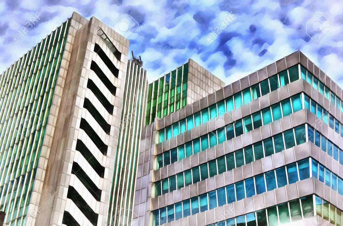 Immeuble de bureaux modernes de nuit banque d images photo stock