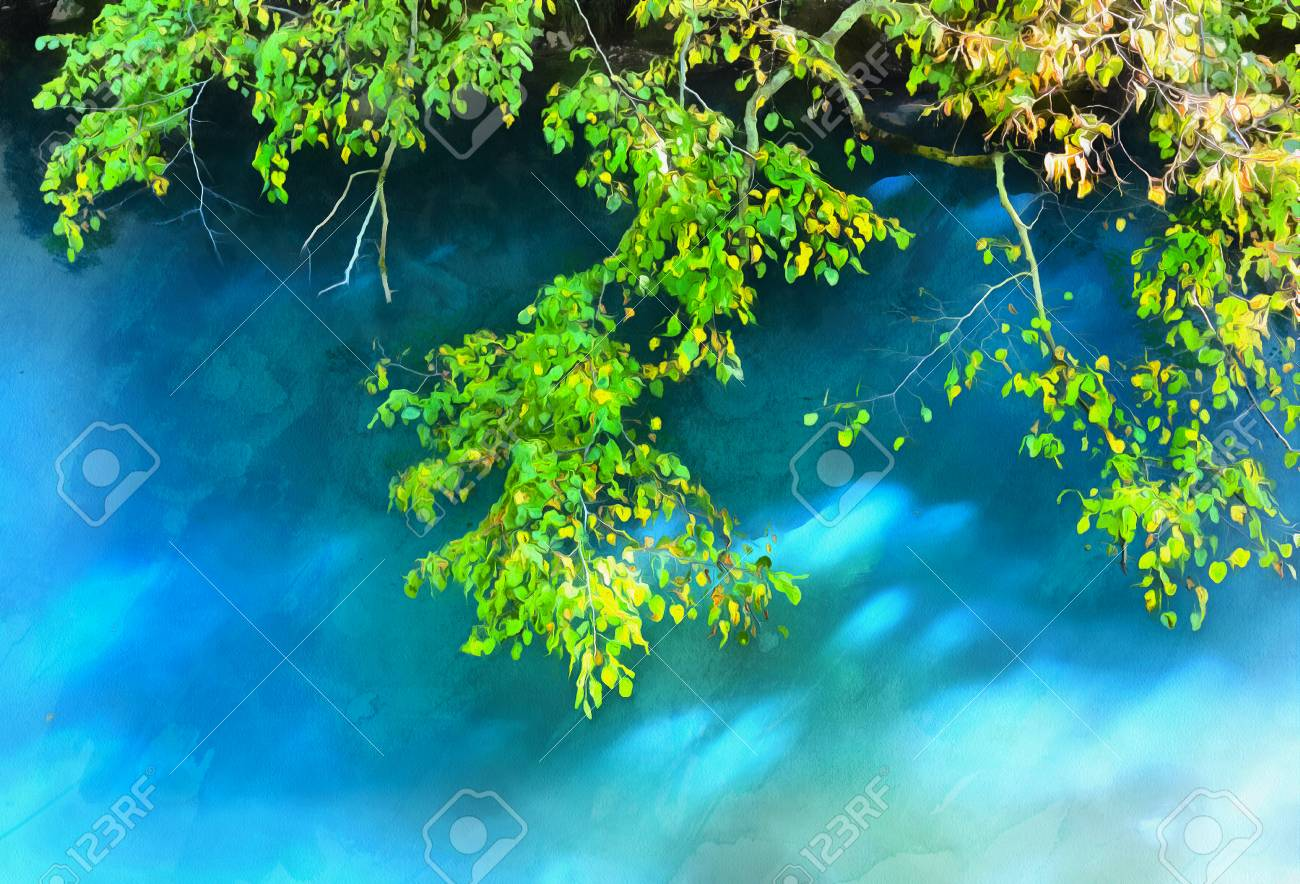 Colorful Painting Of Birch Tree Branches Stock Photo, Picture And ...