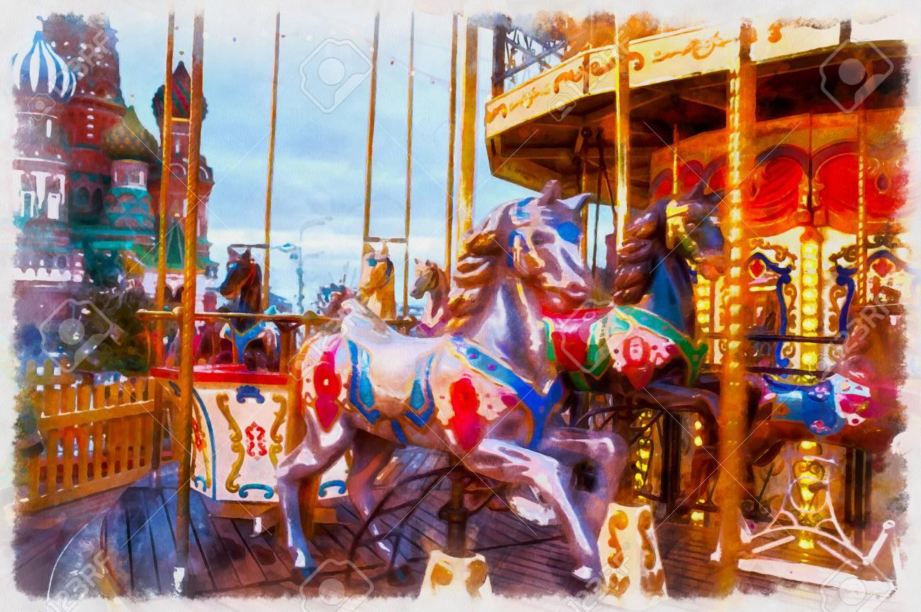 Karussell Beleuchtung | Bunte Malerei Von Karussell Dekoration Und Beleuchtung Lizenzfreie