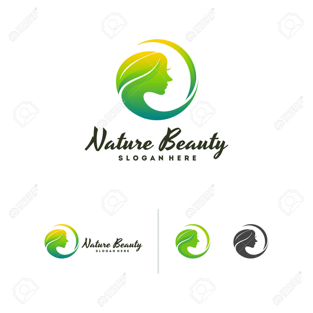 Nature Beauty Logo Vector Leaf And Beauty Face Logo Template Royalty Free Cliparts Vectors And Stock Illustration Image 140281023
