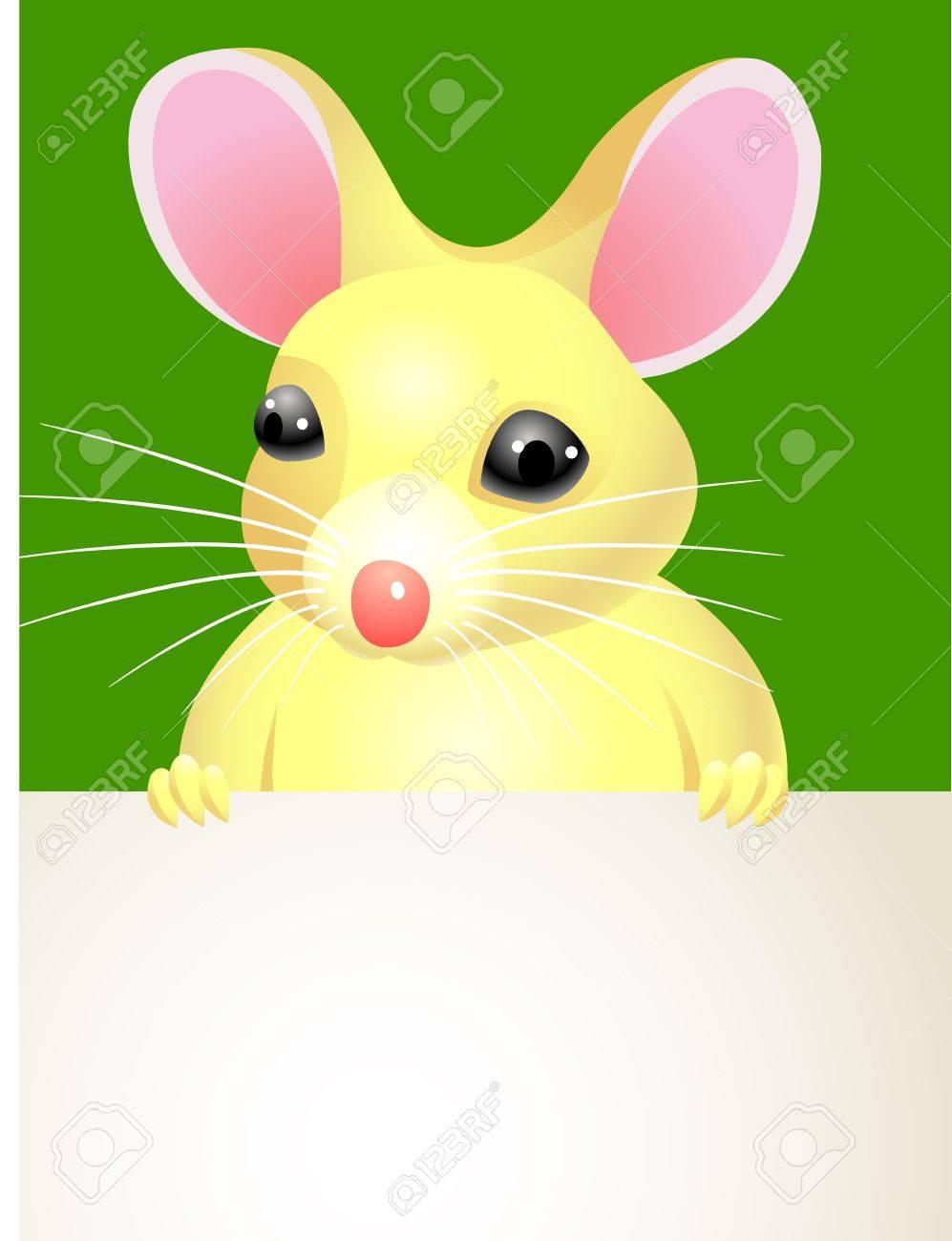 A cartoon mouse holding a blank sign Stock Vector - 13446435
