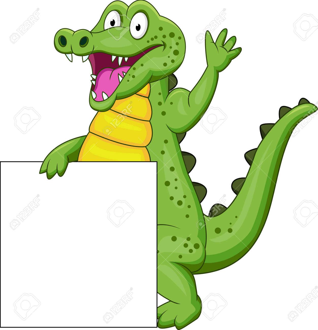 crocodile with blank sign Stock Vector - 13496453