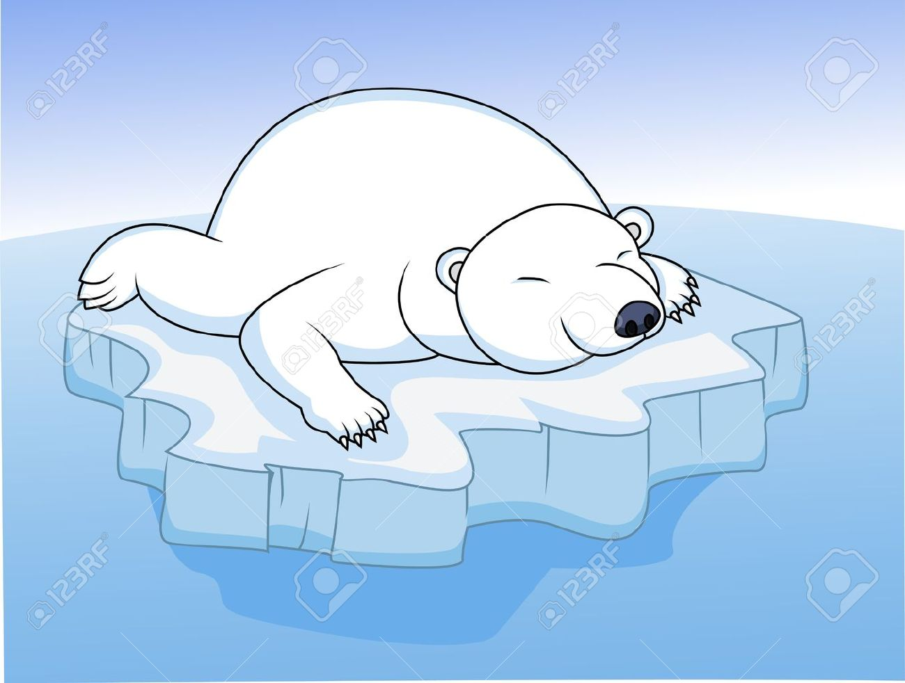 Polar Bear On Ice Clip Art