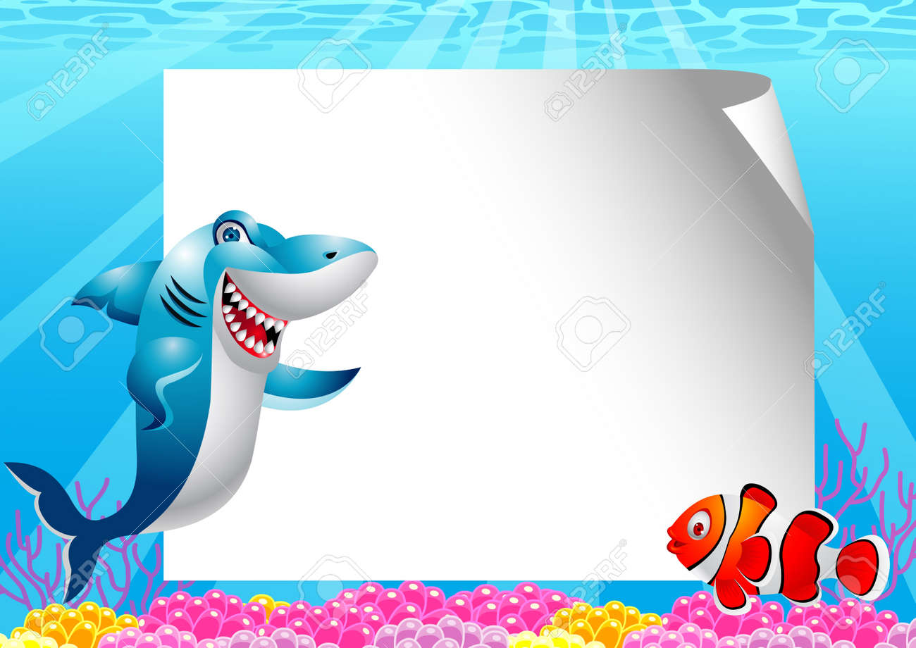 Shark and clown fish with blank sign Stock Vector - 13496856