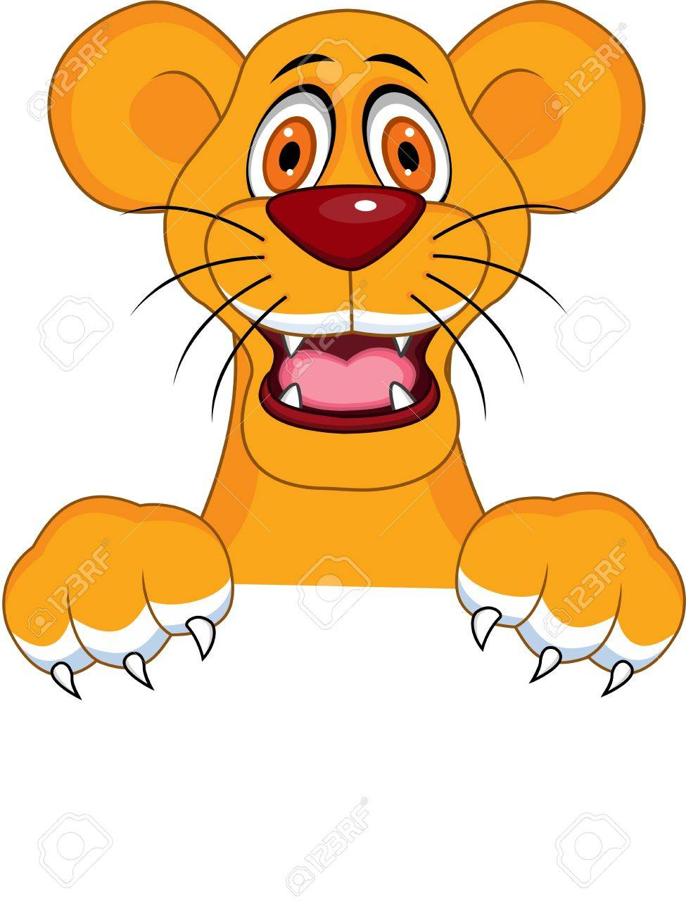 Lioness with blank sign Stock Vector - 13494892