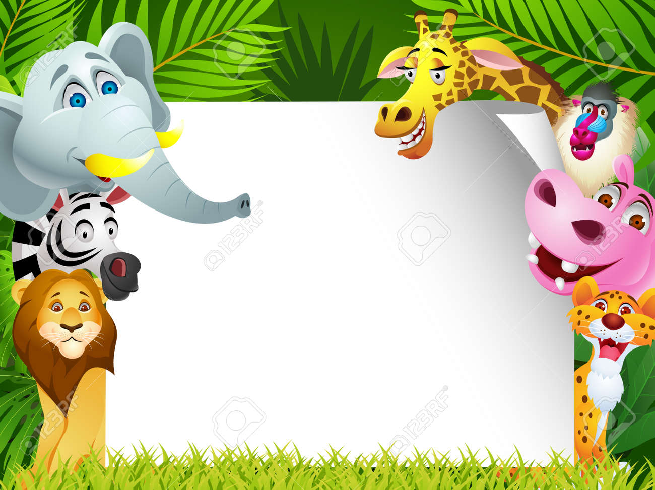 Funny animal with blank sign Stock Vector - 13497120
