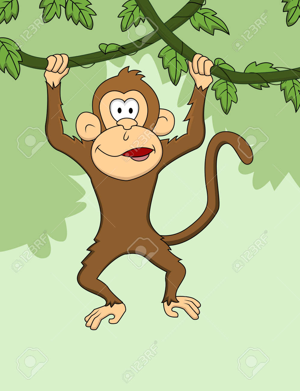 Images for simple cartoon monkey hanging - Monkey Cartoon Hanging Stock Vector 13778825