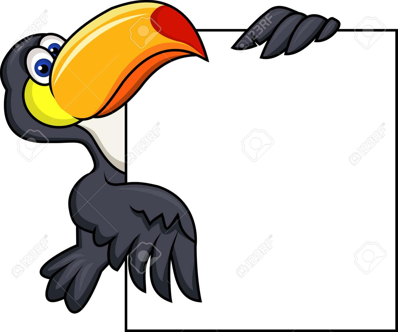 Toucan bird with blank sign Stock Vector - 13780098