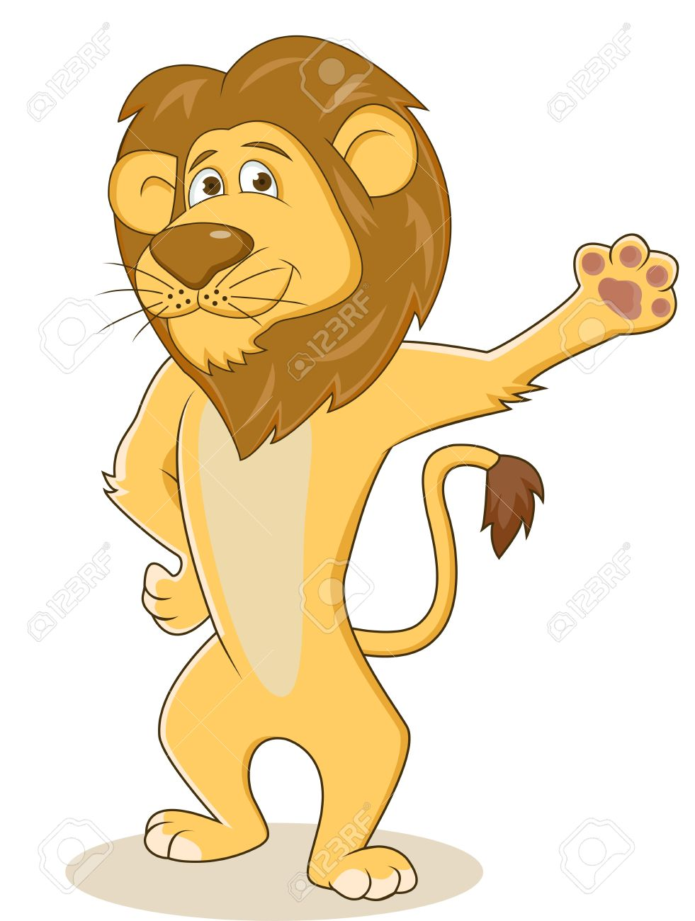 Friendly lion waving hand Stock Vector - 13779384