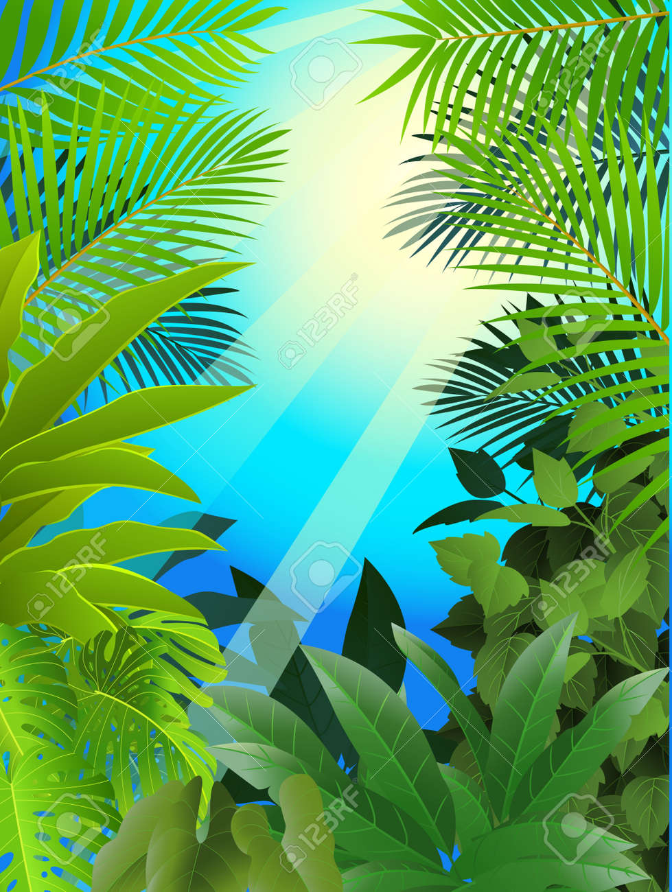 Tropical forest background Stock Vector - 13781449