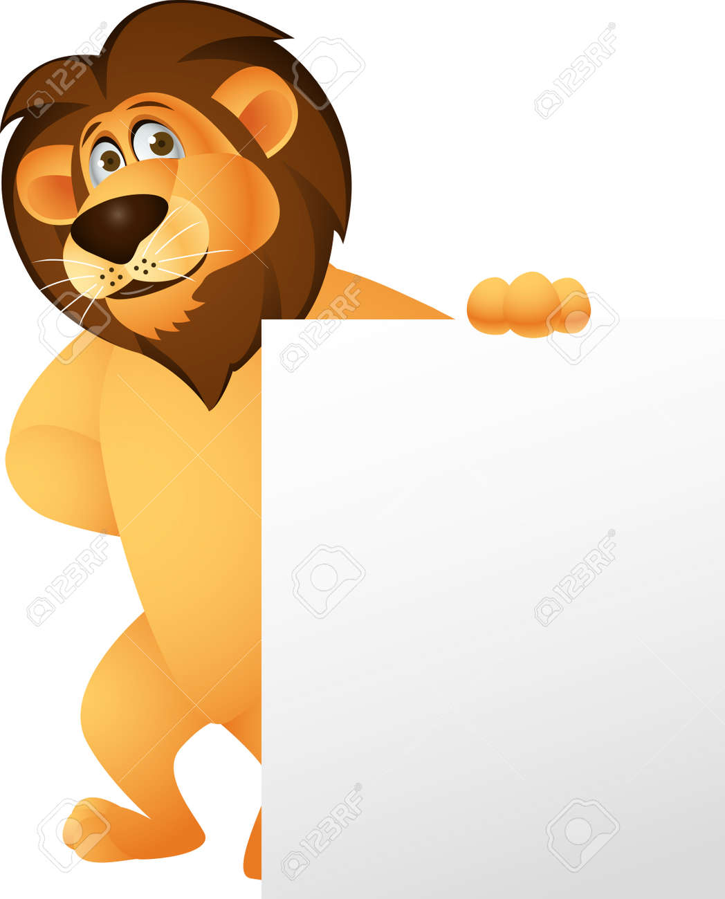Funny lion cartoon with blank sign Stock Vector - 13778822