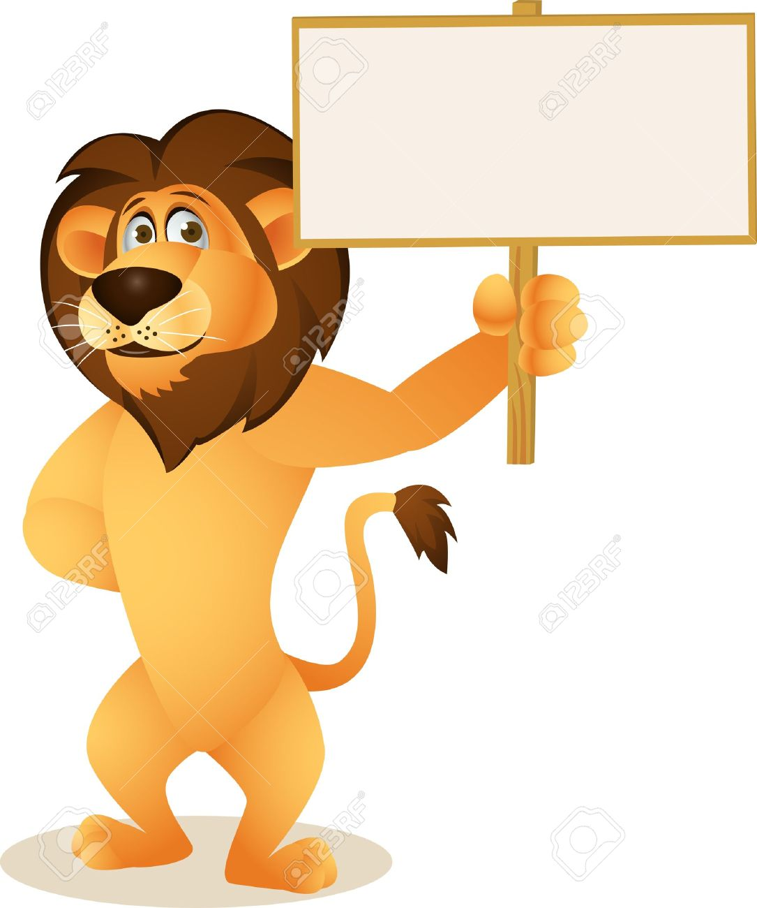 Funny lion cartoon with blank sign Stock Vector - 13778845