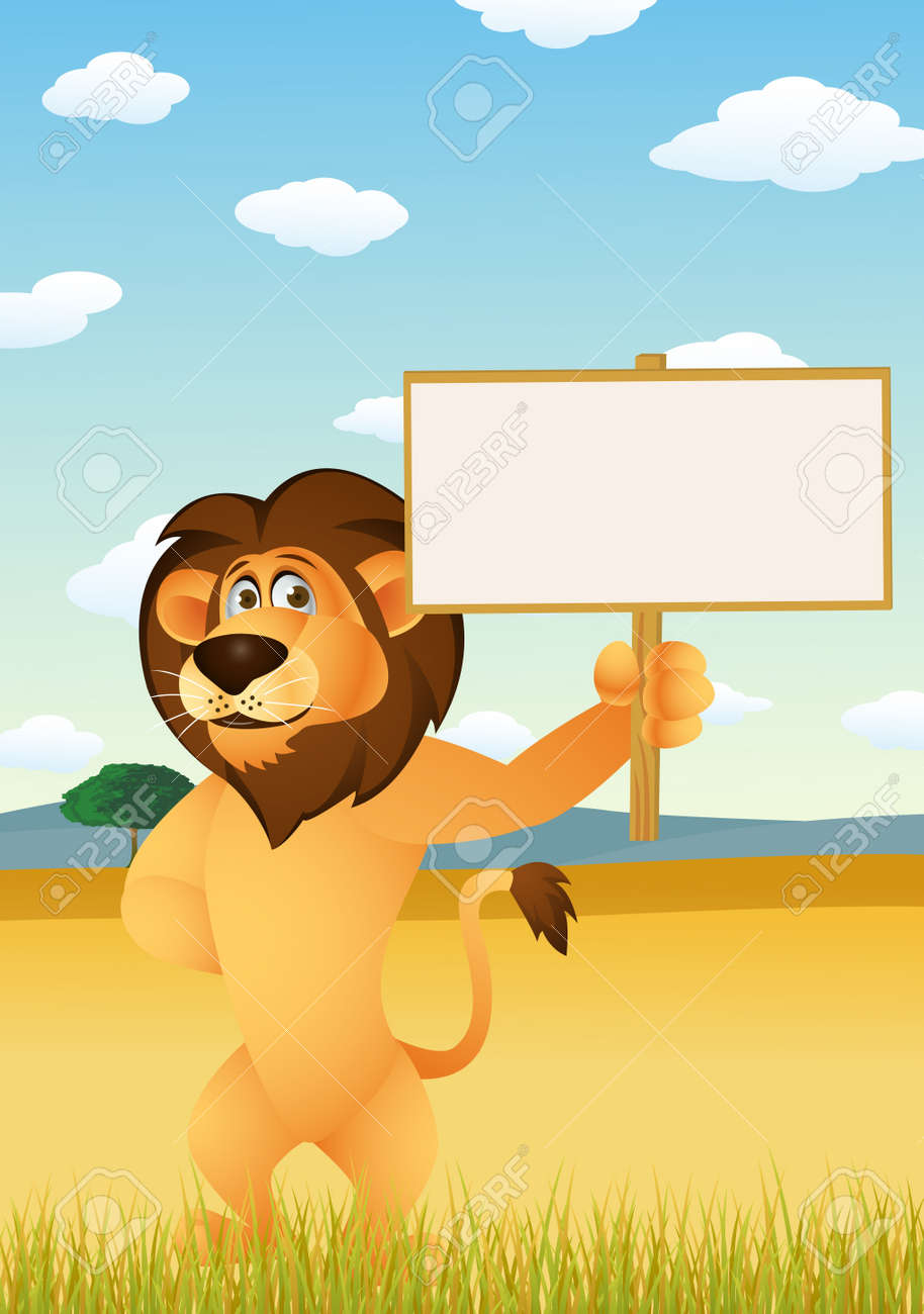 Funny lion cartoon with blank sign Stock Vector - 13781752