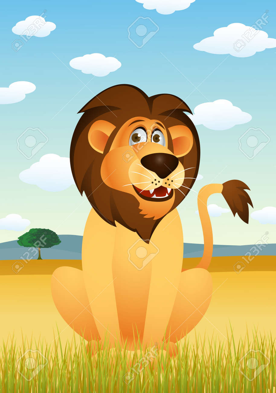 Funny lion cartoon Stock Vector - 13781755
