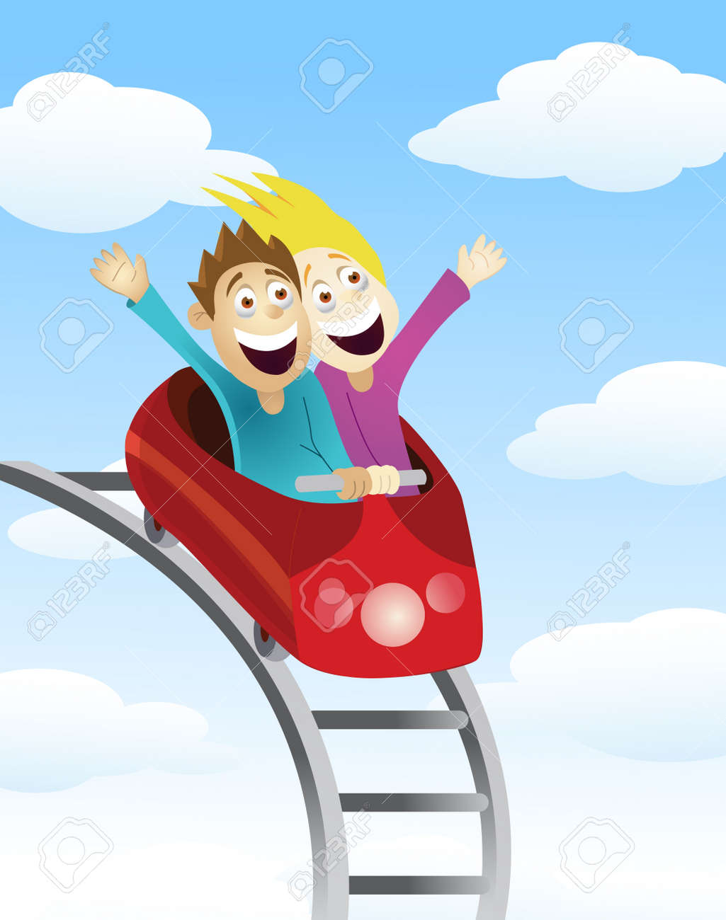 Man and women an a roller coaster Stock Vector - 13784061