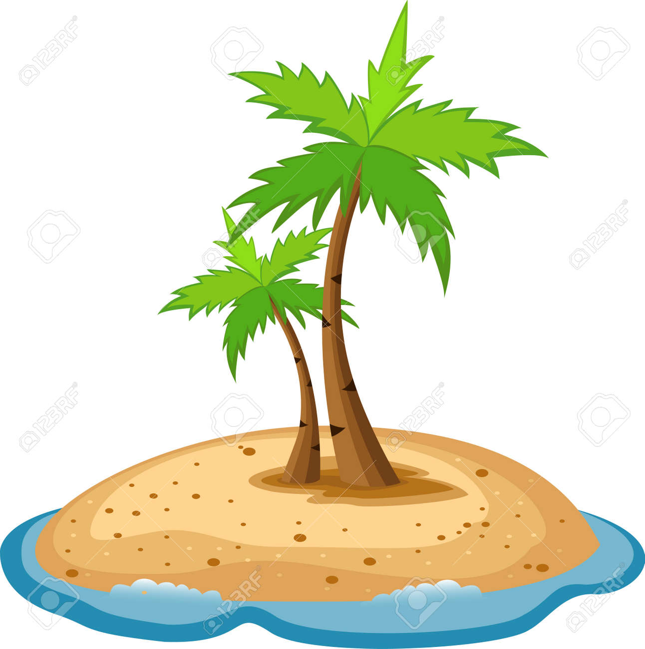 Tropical island with funny sun character Stock Vector - 13984216