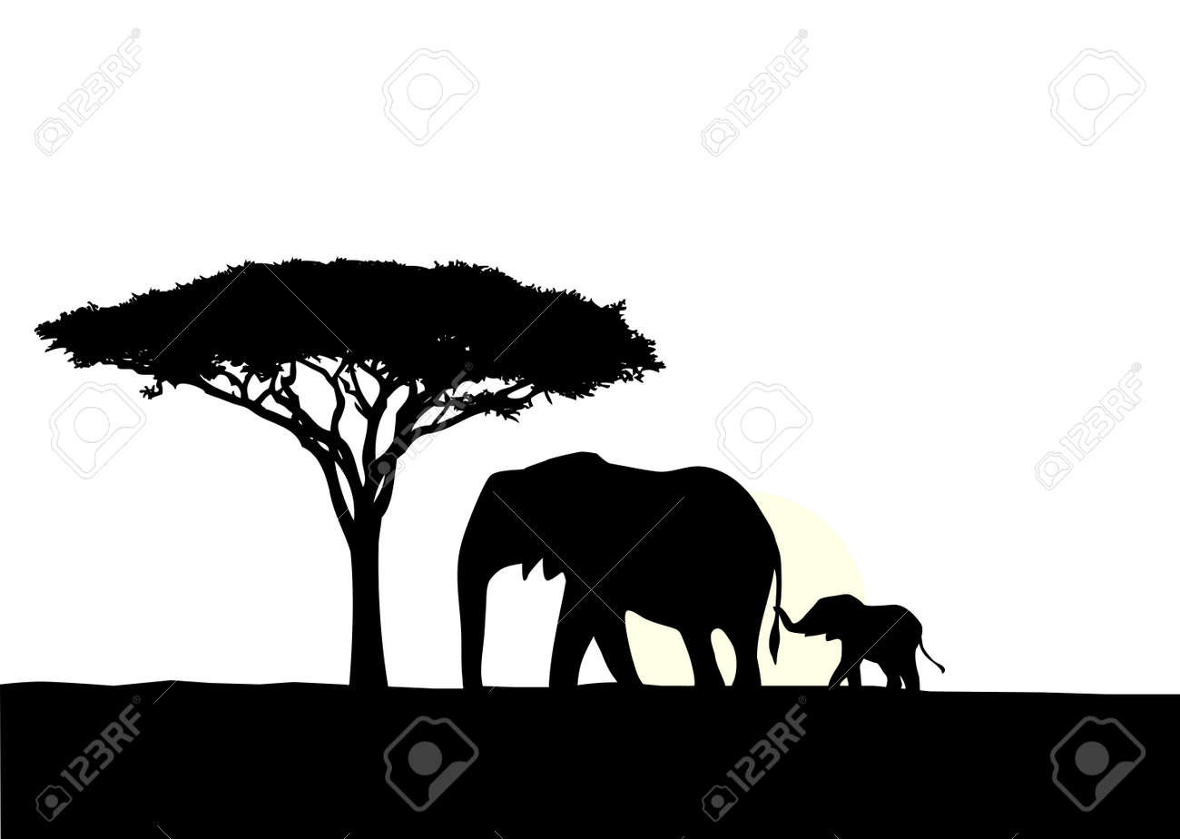 illustration of african elephant with baby silhouette royalty free rh 123rf com  elephant head silhouette vector