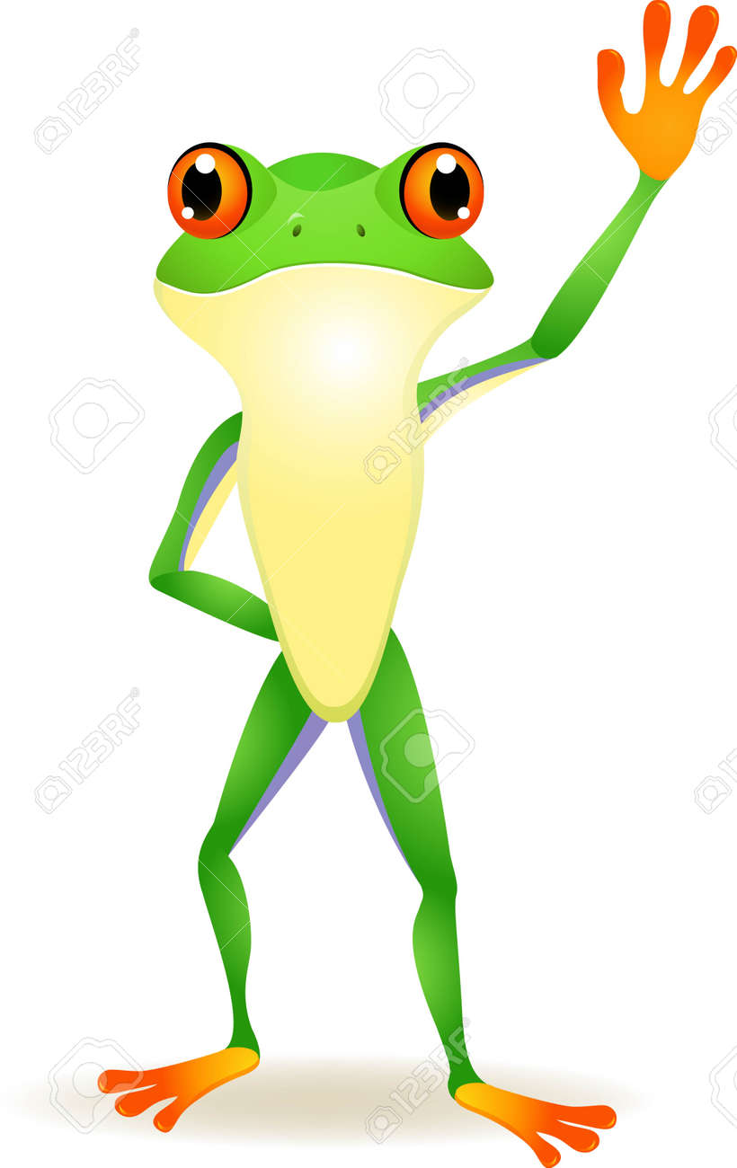 vector illustration of Funny frog cartoon with hand waving - 14325026