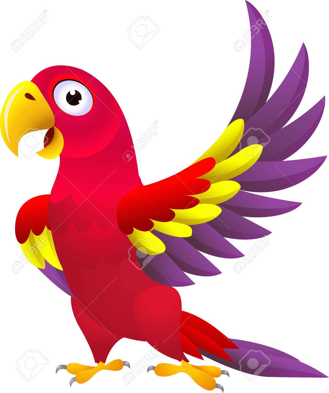 vector illustration of Funny parrot cartoon - 14325032