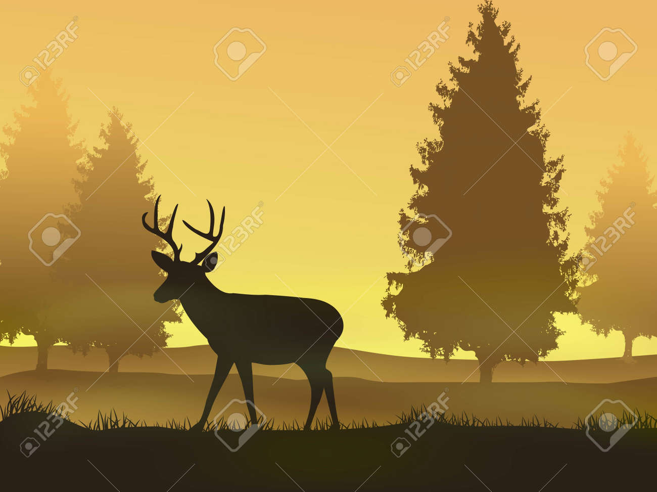 vector illustration of Deer with nature background Stock Vector - 14325036