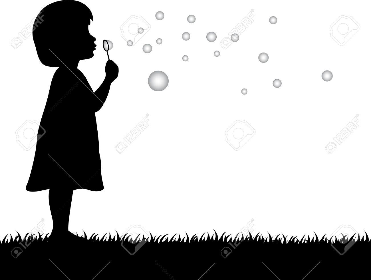 Kid Blowing Soap Bubbles Girl Blowing Soap Bubbles