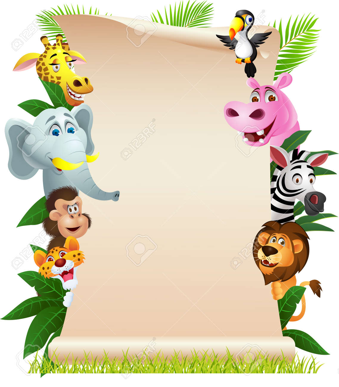 illustration of Animal cartoon with blank paper Stock Vector - 14320790