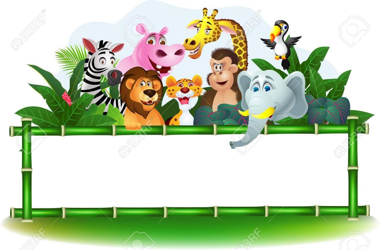 Illustration Of Animal Cartoon with blank sign - 14320813