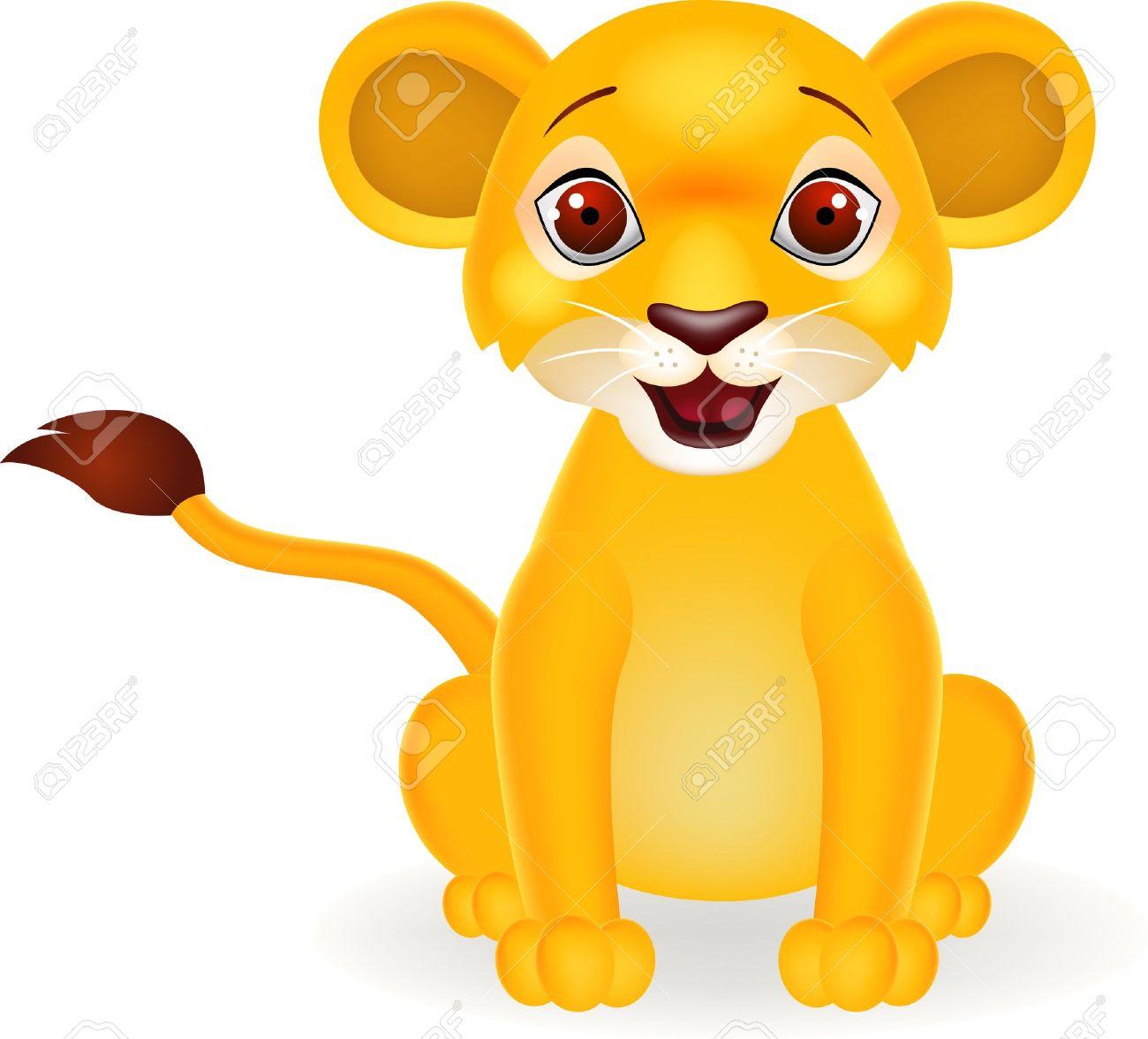 Drôle De Dessin Animé Bébé Lion Clip Art Libres De Droits Vecteurs