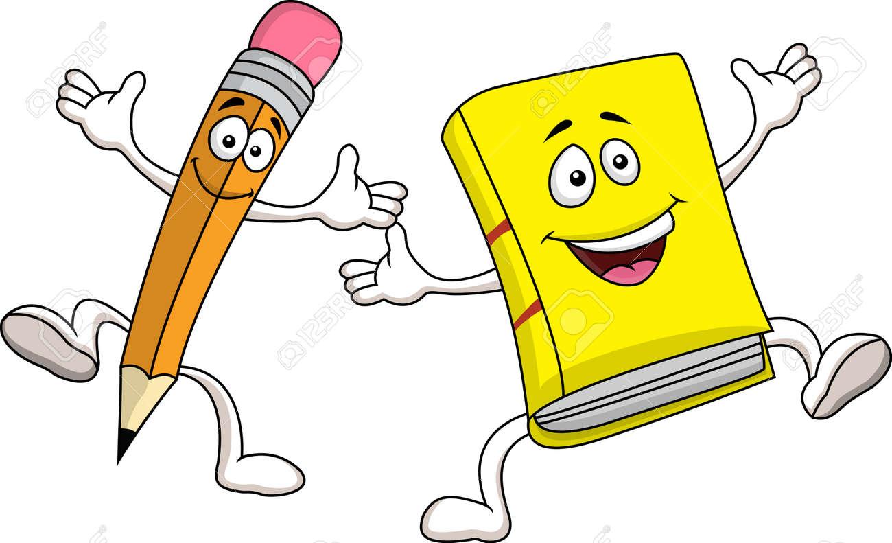 Pencil and book cartoon character - 14662163