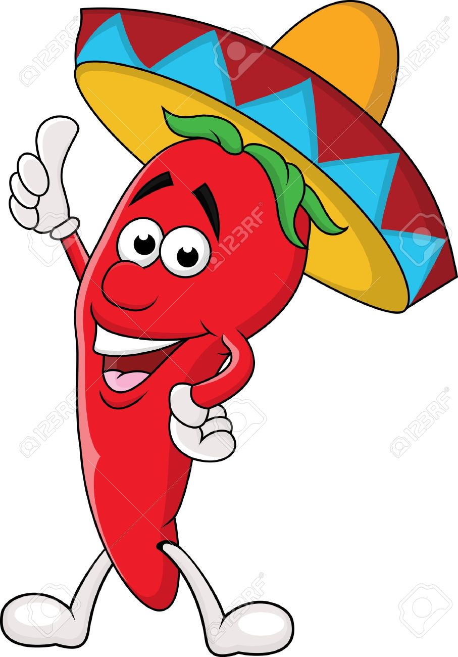 Chili cartoon with sombrero hat - 14662151