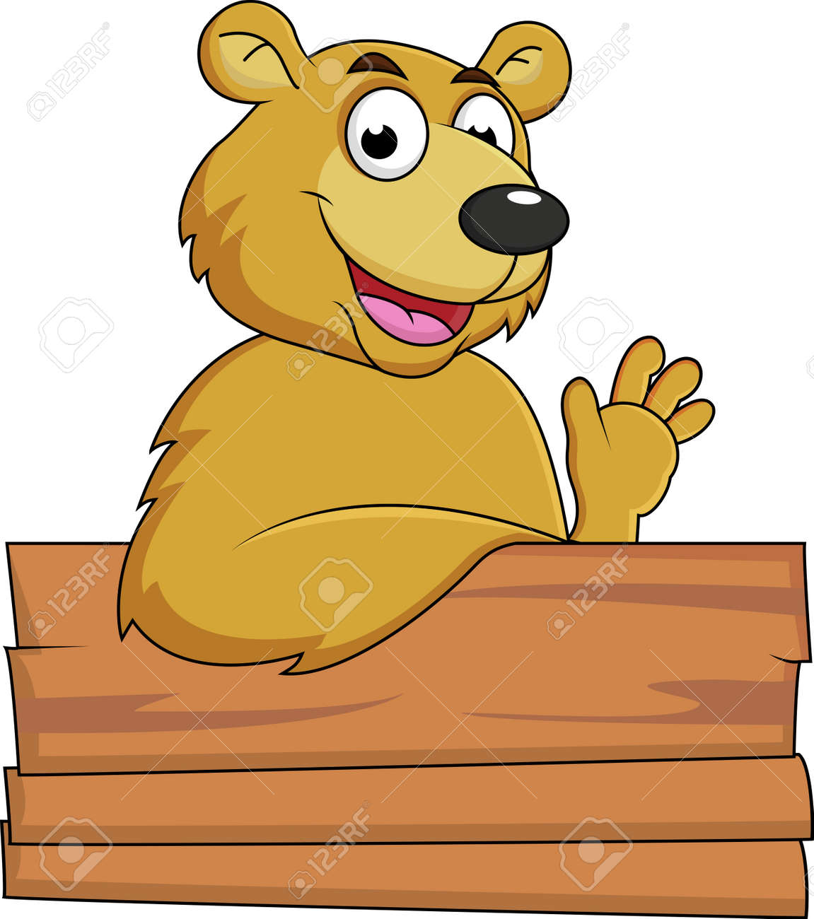 Bear with blank signboard Stock Vector - 14662174