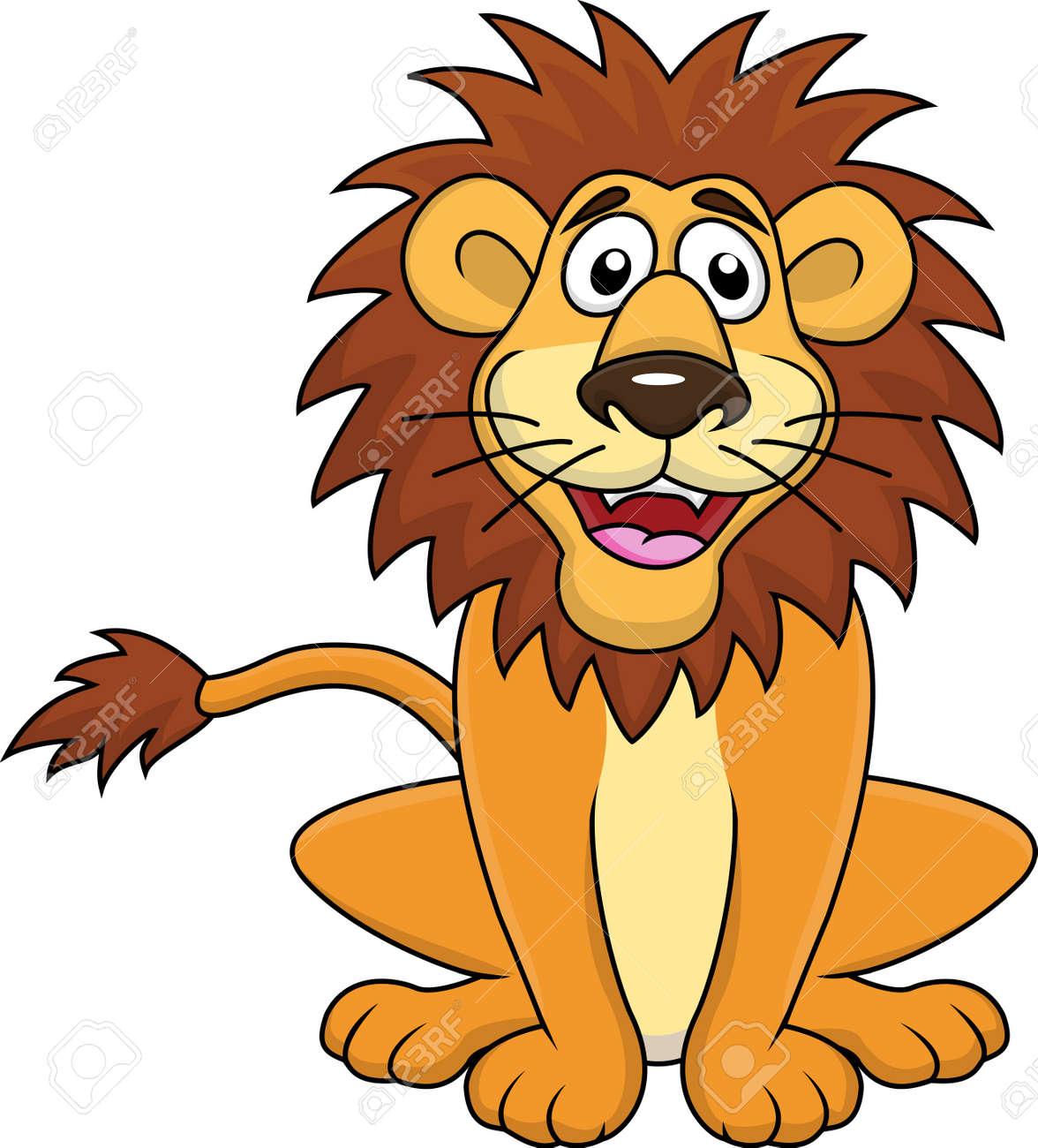 Funny lion cartoon sitting - 14662165