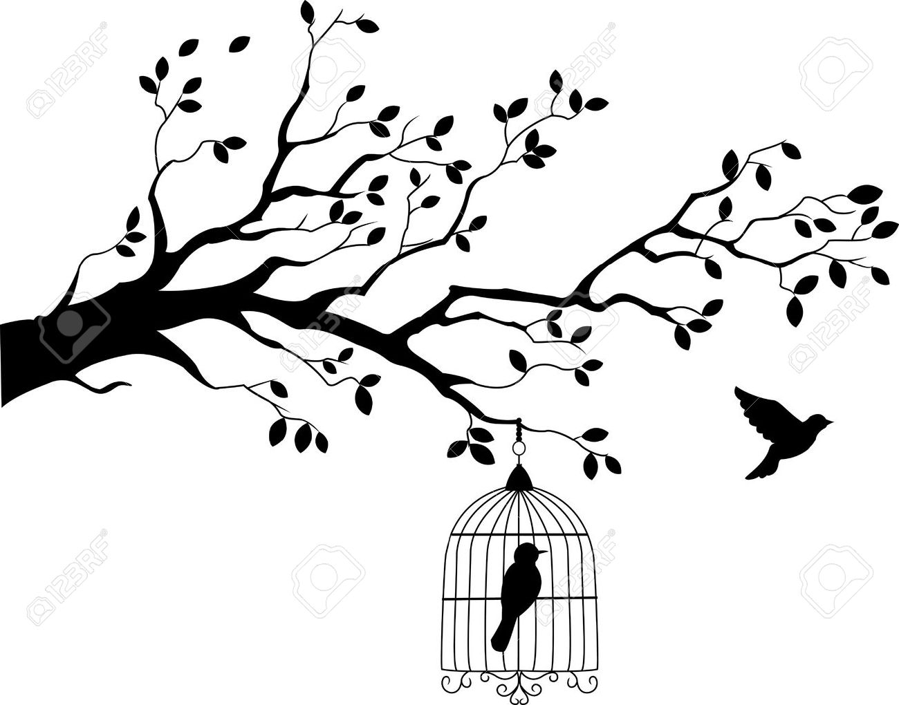 Tree silhouette with bird flying - 15234017