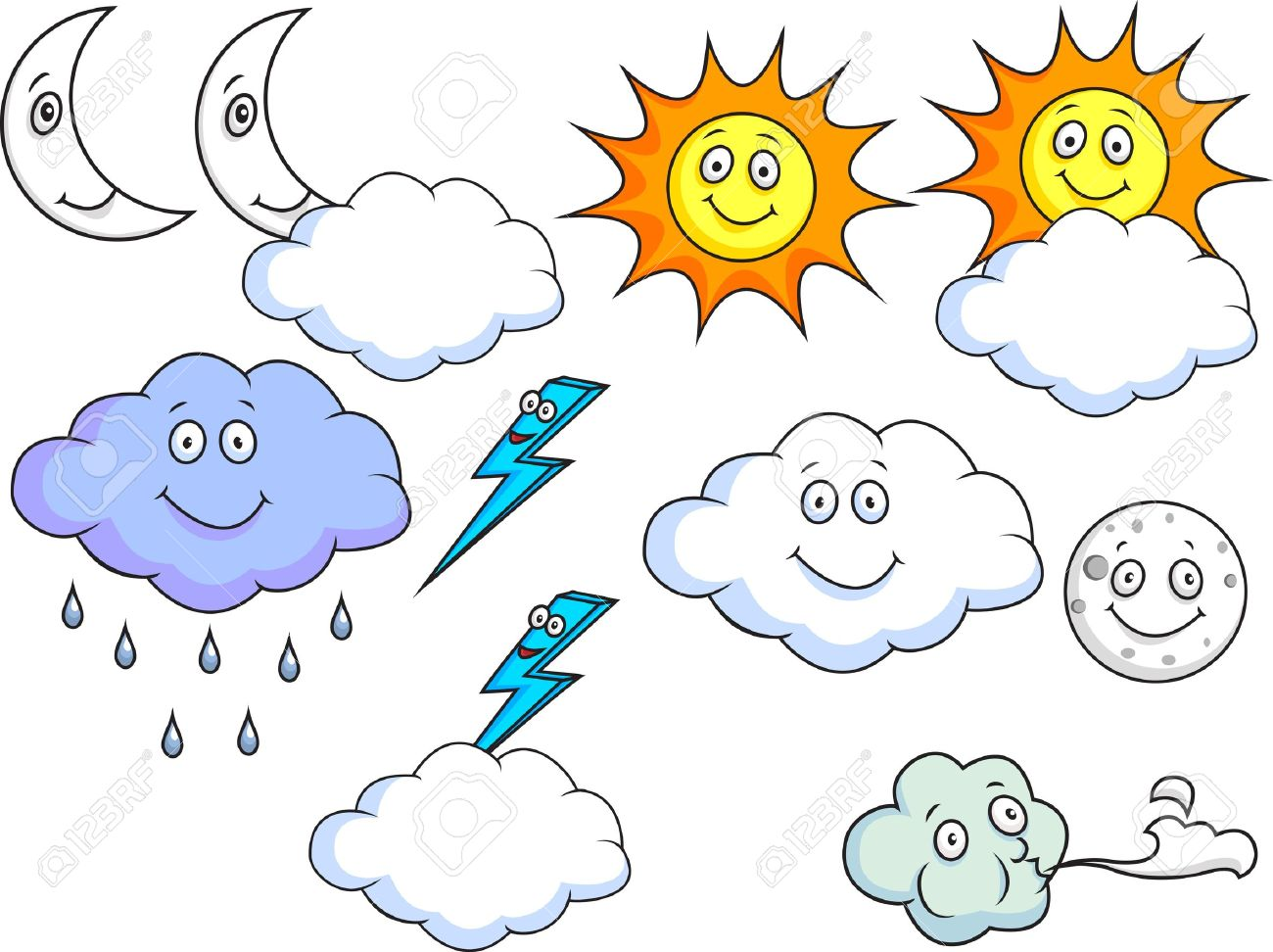 Cartoon Weather Symbols - 15234278