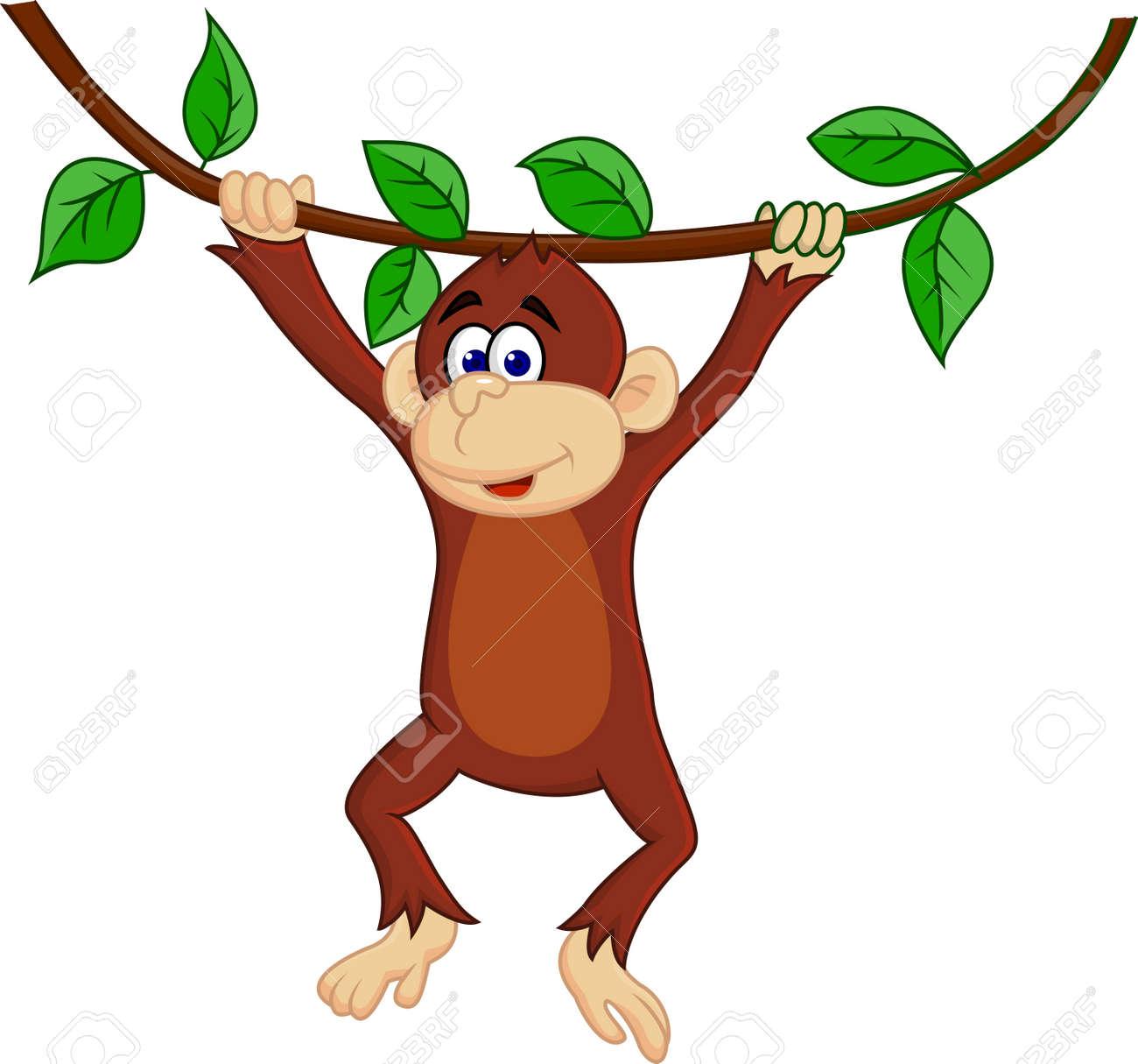 Vector illustration of funny monkey - 15234340
