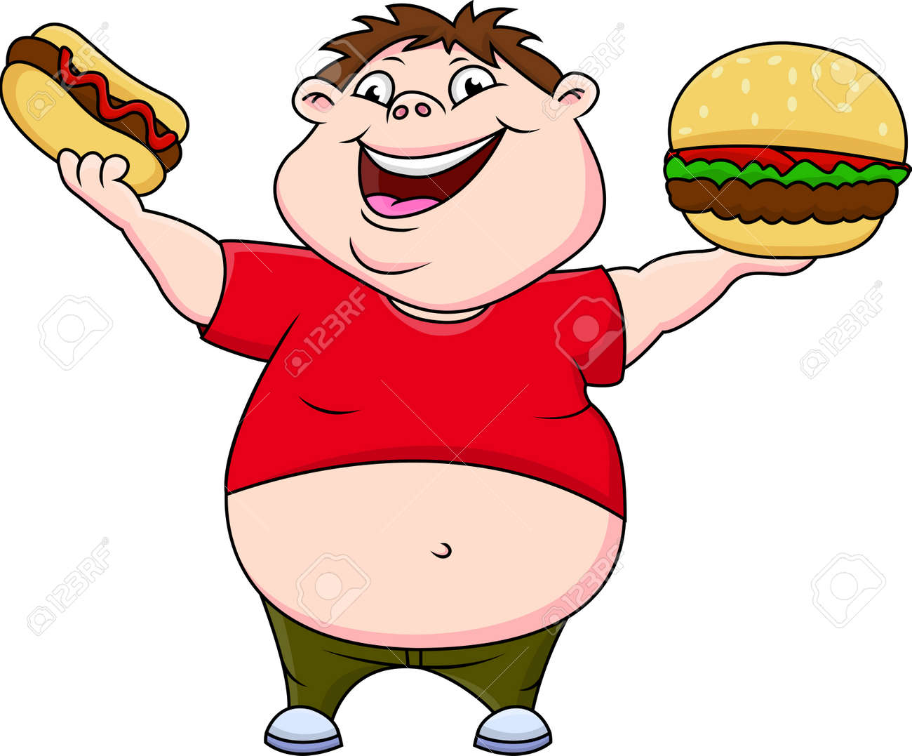 fat boy smiling and ready to eat hotdog and hamburger royalty free  cliparts, vectors, and stock illustration. image 53034591.  123rf