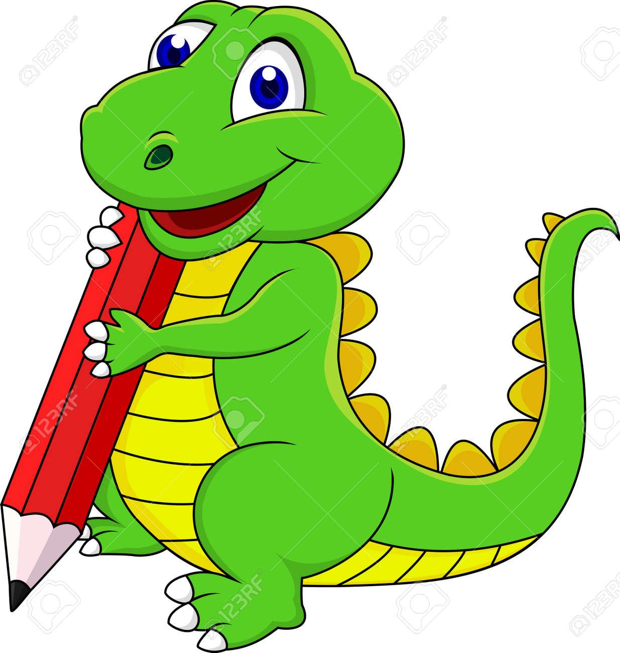 Happy dinosaur cartoon writing with pencil - 15234327