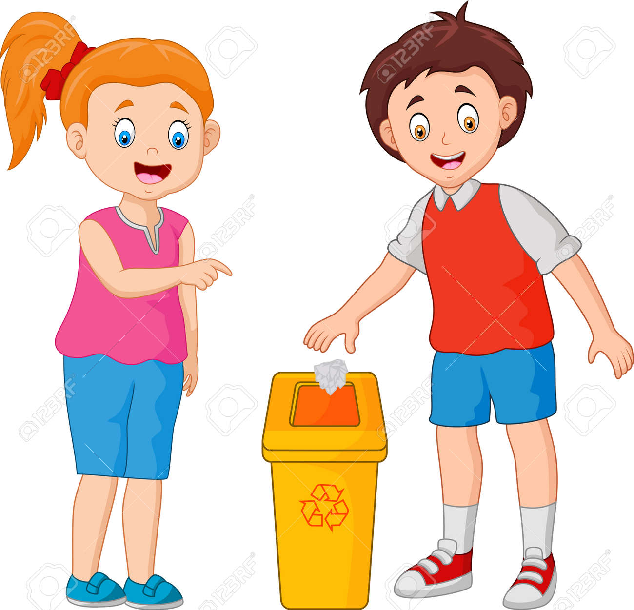 kid throws garbage in the trash - 110770458