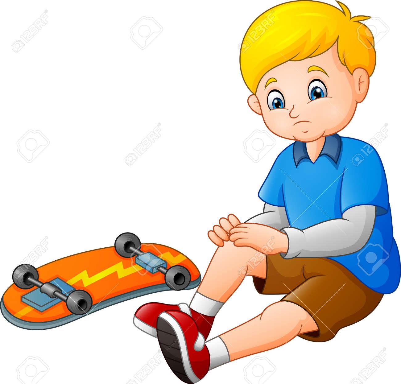 Cartoon sad skater falling of his skateboard - 113507656