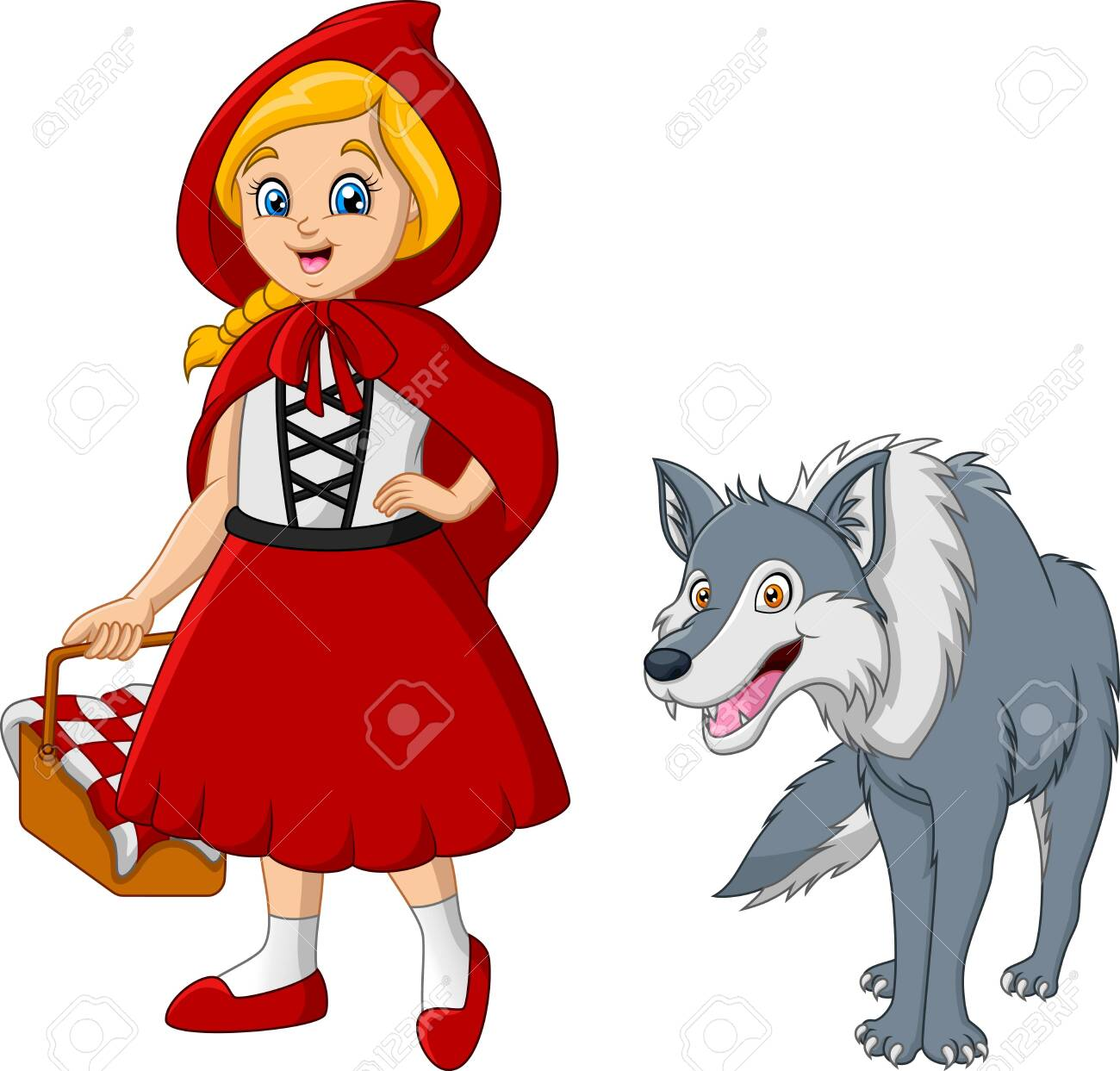 Little red riding hood with wolf - 137493510