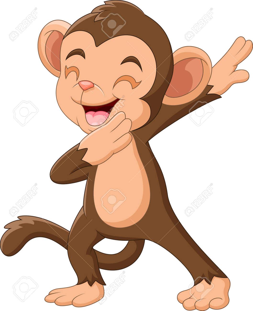 Cartoon Happy monkey waving hand - 137348839