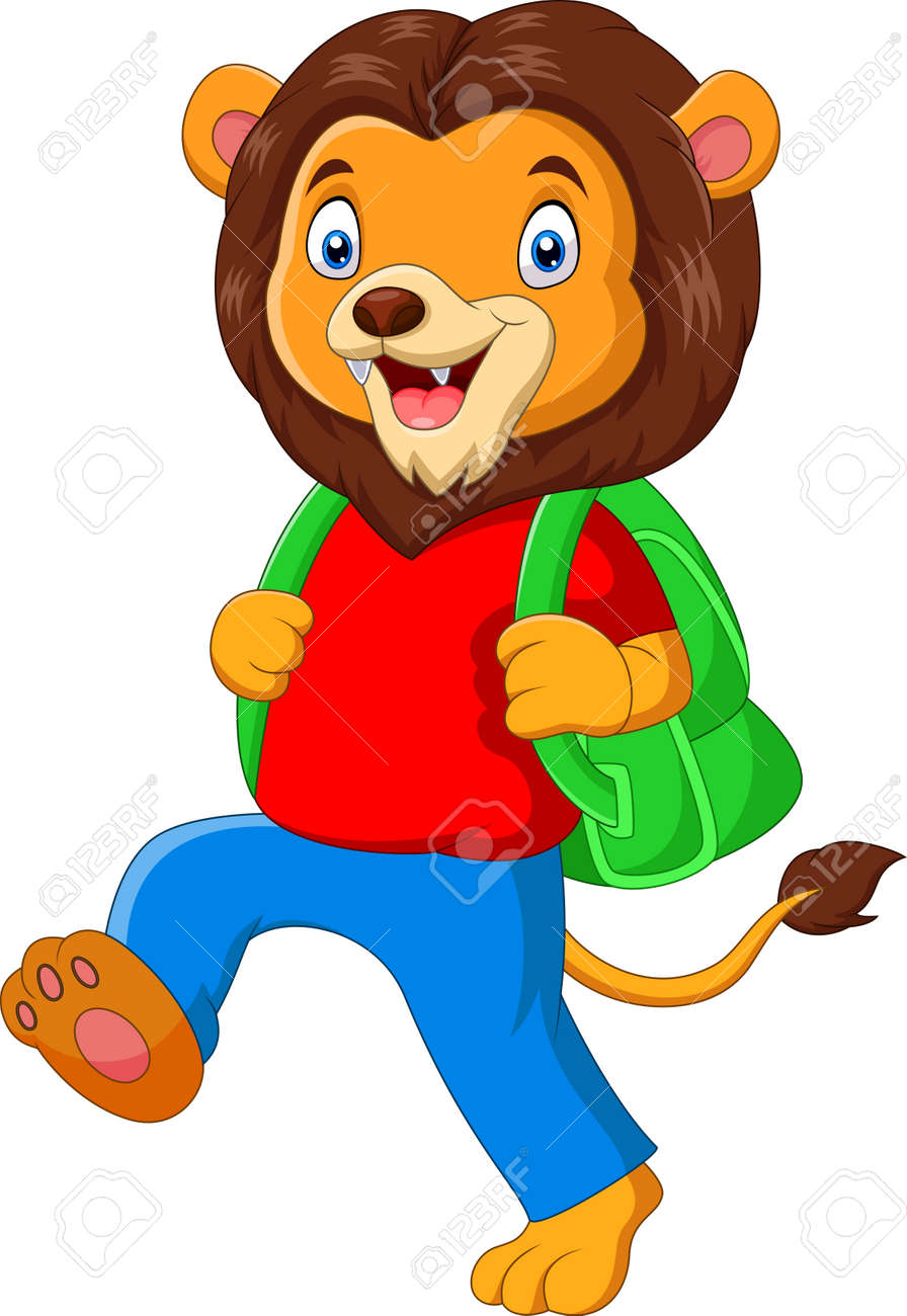 funny lion cartoon going to school - 144788858