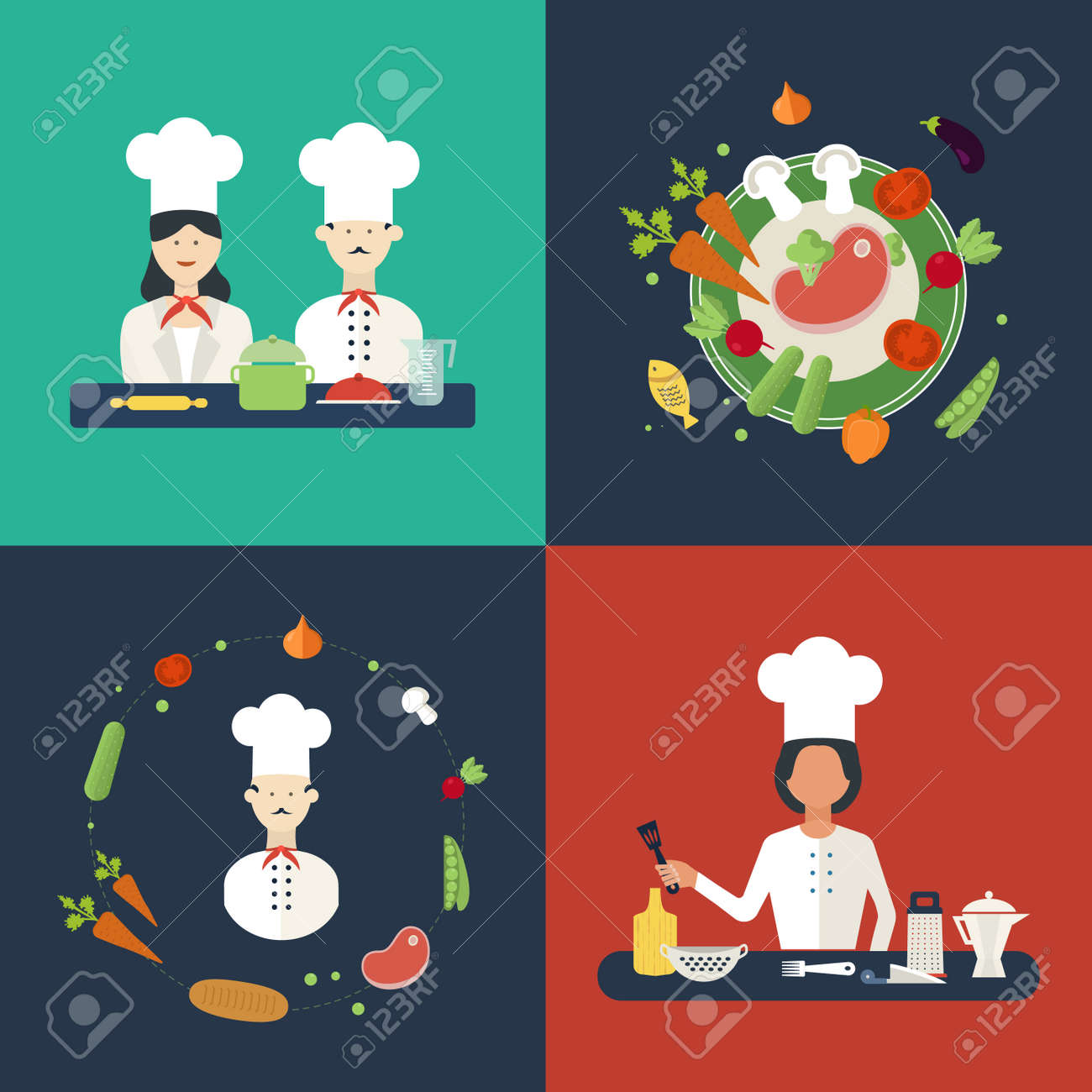 Flat Design Concept Icons Of Kitchen Utensils With A Chefs. Cooking ...