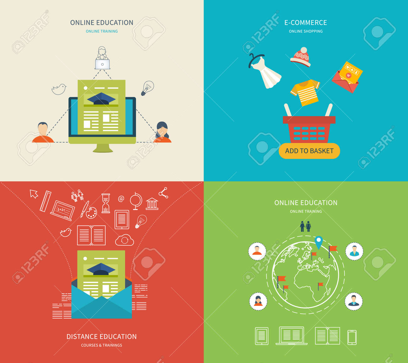 E learning poster designs - Flat Design Modern Vector Illustration Icons Set Of Online Education E Learning And Online