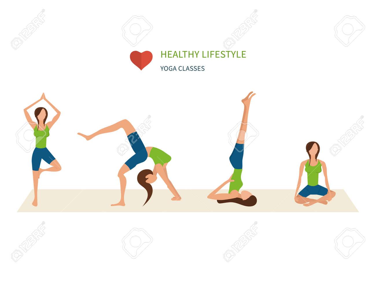 Vector Ilustración De Yoga. Conjunto Yoga. Los Ejercicios De Yoga. Mujeres  Yoga. da7008786e85