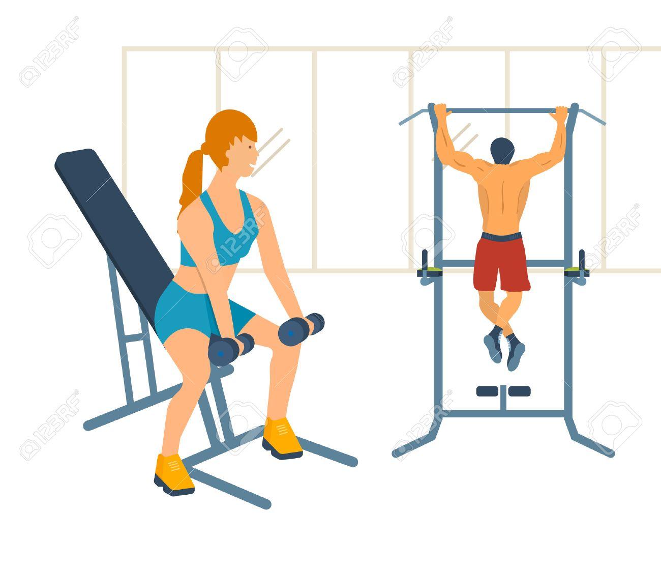 ダンベル ベンチに座って運動女性の漫画イラスト体育館で鉄棒に男