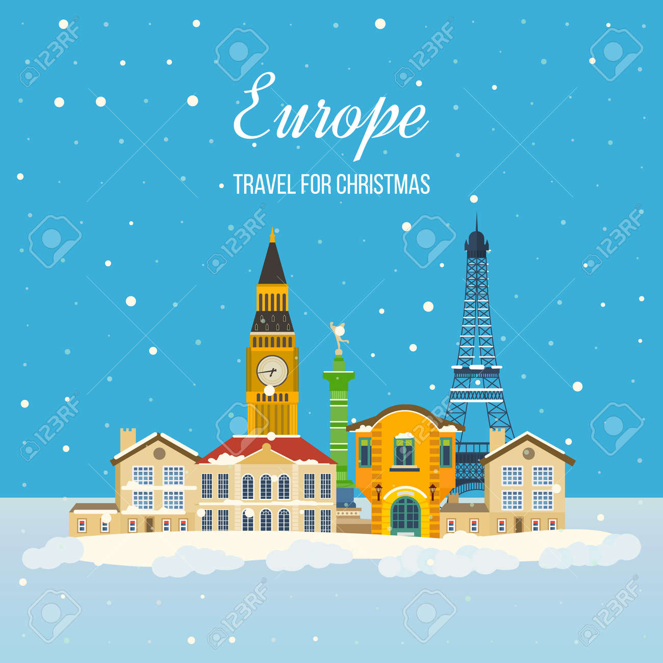 United Kingdom Christmas.London United Kingdom And France Flat Icons Design Travel Concept